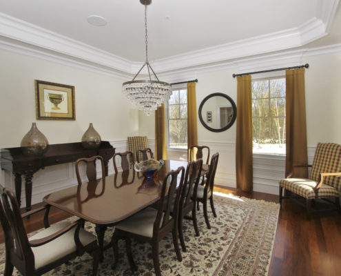 paneled dining room in custom home